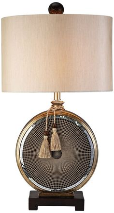 Brighten a bedroom or living space with the Mosaic Table Lamp. Featuring a beige drum shade and gold mosaic base, this lamp is eye-catching and chic. Display it among elements of contemporary decor as a unique accent piece. Lamp Design, Table Lamp, Chandelier Lamp, Interior Lighting, Lamp Light, Home Lighting, Floor Lamp, Decorative Table Lamps, Drum Shade