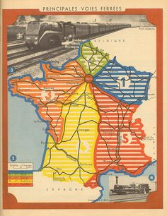 Map poster of main train routes in France, 1958. These railways allowed the people of France to travel across the country.