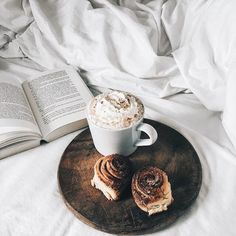A bookworm's paradise is coffee, sticky buns and a good book.