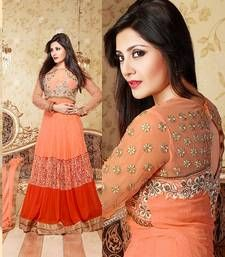 Buy Orange georgette embroidered semi_stitched salwar anarkali-salwar-kameez online