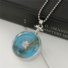 Ball Chain Silver Tone Round Dried Flower Glass Aromatherapy Essential Oil Diffuser Locket Necklace