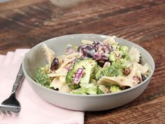 Looking for an easy broccoli pasta salad? How about a great broccoli grape salad? You're in luck, because in this simple cold pasta recipe, we combine Cold Pasta Recipes, Pasta Salad Recipes, Potluck Recipes, Cooking Recipes, Grape Recipes, Picnic Recipes, Cooking Ideas, Food Ideas, Dinner Recipes