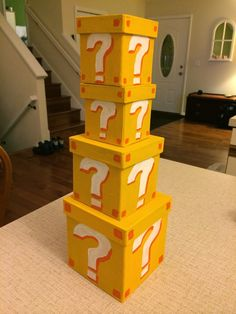 Mario question mark boxes for Super Mario Bros themed baby shower