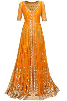 Anita Dongre - Tangerine gota patti work rukhvika jacket with sage green shorts at Pernia's Pop Up Shop. Indian Gowns, Indian Attire, Indian Ethnic Wear, Pakistani Outfits, Indian Outfits, Salwar Kameez, Sharara, Anarkali Dress, Anarkali Suits