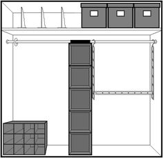 7. Basic Closet w-hanging shelves-divider ring-extension rod-shelf dividers-lidded boxes-shoe cubbies 2