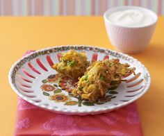 Indian vegetable fritters recipe - Serve these spicy, crunchy fritters with a dollop of yoghurt for the perfect savoury snack. Rib Recipes, Apple Recipes, Indian Food Recipes, Ethnic Recipes, Weekly Recipes, Vegetable Lasagne, Vegetable Recipes, Vegetarian Paella