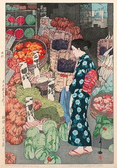 hanga gallery . . . torii gallery: Honest Grocery by Hiroshi Yoshida