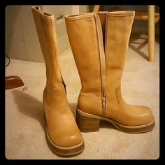 Candies tall boots Tan platform type of boots. Hits at the calf. Worn only twice which you can see by the bottom. Otherwise these shoes are in very good condition. Candie's Shoes Heeled Boots