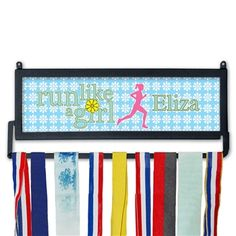 Custom Race Medal Display Run Like a Girl MedalART | Wall Displays for Race Medals