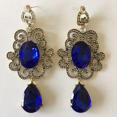 royal blue earrings antique gold polish wedding by MadZFashionZ