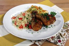RECIPE: Mexican chicken legs with Cabbage and Carrot slaw and easy pilaf
