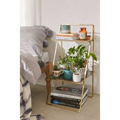 Plum & Bow Zoe Two-Tiered Stand (335 CAD) ❤ liked on Polyvore featuring home, furniture, storage & shelves and bronze
