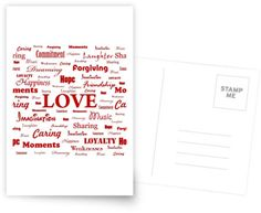 """Love is White & Red"" Postcard by George Barakoukakis. Dims: 100mmx150mm. 300gsm card with a satin finish. Superior writing surface for your words of wisdom. Discount of 20% on every order of 8+ cards"