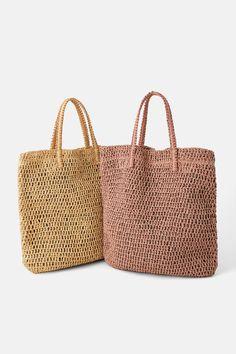 ÖRGÜLÜ KAĞIT TOTE ÇANTA - YENİ ÜRÜNLER-KADIN | ZARA Türkiye Crotchet Bags, Knitted Bags, Zara, Net Bag, Shopper Bag, Reusable Bags, Straw Bag, Purses And Bags, United States