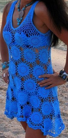Wow! Great colour…Crochet Bikini cover up made out of round motifs - click for pattern and chart….