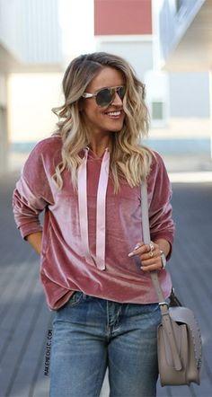 Pink Drop Shoulder Zip Slit Side Velvet Hoodie... - Summer Street Style Fashion Looks 2017