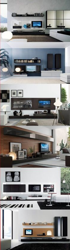 The first pic has a lovely shelf above the tv center. Would be a perfect idea to pair with led tap lights attached to the bottom.