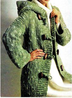 (4) Name   Crocheting   Crochet Green Toggle Hooded Coat Jacket Crochet Coat 8eb34578b8