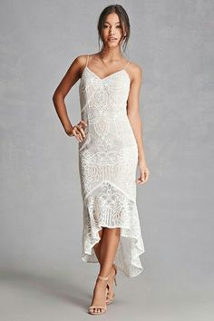 A knit dress featuring a lace overlay design, adjustable cami straps, a concealed back zipper, a ruffle hem skirt, and bodycon silhouette. This is an independent brand and not a Forever 21 branded item. Bridal Outfits, Dress Outfits, Prom Dresses 2017, Party Dresses, Frack, Satin Dresses, Lace Overlay, Forever 21 Dresses, Occasion Dresses
