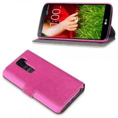 Hot Pink PU Leather Wallet Case with Stand for LG G2