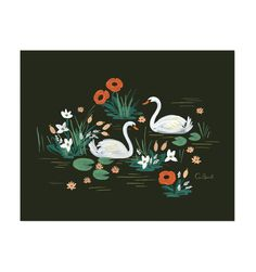Swan Illustrated Art Print by Rafle Paper Co