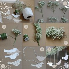 baby's breath garland- and for once in my life, I'm liking something better without the birds