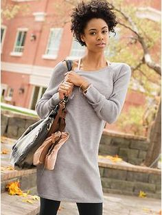Solitude Sweater Dress - Lightweight, soft fabric makes this scoop-neck sweater dress live-in comfy.