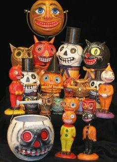 DIY Halloween paper mache Ideas to make and sell Retro Halloween, Vintage Halloween Images, Vintage Halloween Decorations, Halloween Ii, Halloween Items, Vintage Holiday, Halloween Cards, Holidays Halloween, Happy Halloween