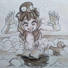 """GOOOAAARRR""  #ship#inktober2017 Nr.25  .  #illustratorofinstagram#instagood #illustration#girl#cartoon#manga#traditionalart#art#inked#ink#blackandwhite #イラストレーター#drawing#イラスト#japan#beach#characterdesign#newartist#characterart#女の子#女#inktober#traditionalart#fineart#artwork#bathroom#inktober#kawaii#bath"