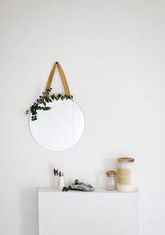 DIY Leather and Eucalyptus Mirror