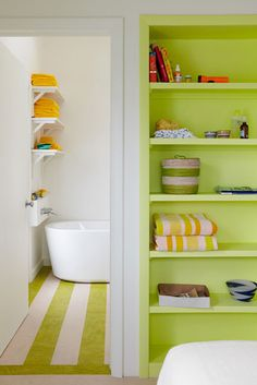 48 Impressive Colorful Bathroom Décor And Remodel Ideas For Summer - Giving your bathroom a fresh splash of paint is always a welcome idea. This would help in maintaining its appeal, atmosphere and personality. The ques. Interior Exterior, Interior Design, Do It Yourself Design, Floor Shelf, Green Cabinets, Bathroom Colors, Colorful Bathroom, White Bathroom, Bright Bathrooms