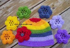 Touca arco iris com troca de flores