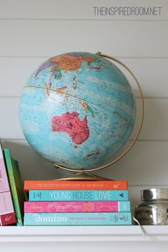 Spring Mantel Styling Ideas (Globes & Books!)