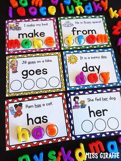 activities for first grade or kindergarten where kids look at the picture and sentence to help read the sight word then build it by spelling it with magnet letters - absolutely love this fun sight words center! Spelling Activities, Sight Word Activities, Letter Activities, Language Activities, Kindergarten Activities, Activities For Babies, Letter Identification Activities, Elementary Education Activities, Fluency Activities