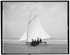 Bike sailing is a bit of a fringe hobby these days, but it very well could have been a standard beach activity if it had just caught on. In fact, Detroit Publishing Co. has a good number of images featuring people trying out sail bikes in Ormond, Florida around 1903.