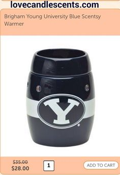 Get 20% OFF on BYU Scentsy Warmers this week at Love Candle Scents. on sale for $28. Available in blue and white. http://scentsandoilsstore.weebly.com #scentsy #BYU #college #sports #fan #Utah #mormon #LDS