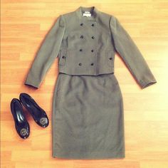 HP🎉Calvin Klein Olive Mandarin Collar Skirt Suit Have an important meeting? Work in a conservative office? This CK 2-piece skirt suit set is made to impress, the right way! Stylish and work-appropriate. Fabric is stretchy, thick, and soft. Amazingly flattering fit. Military style buttons and stand collar detail. Pockets on the jacket. Tag states Sz. 6. Fits like size 4-6. In mint condition. -No trade. -Don't ask me for my lowest. I don't negotiate with myself. -No lowball. I know the value…