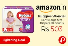 Amazon #LightningDeal is offering 28% off on #Huggies Wonder Pants Large Size #Diapers 50 Counts just at Rs.503. Super Stretchy elastic adapts to the baby's waist to give a comfortable fit, Quick absorption to soak wetness instantly keeping your baby dry up to 12 hours, Lighter & slimmer absorbent pad for a more active baby,   http://www.paisebachaoindia.com/huggies-wonder-pants-large-size-diapers-50-counts-just-at-rs-503-amazon/