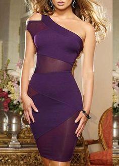 Sexy Mesh Patchwork Open Back Dress - Purple on Luulla