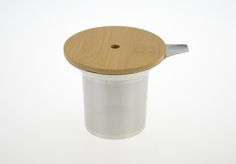 stainless steel tea infuser with wooden lid