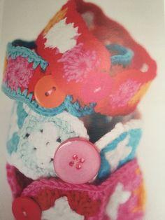 colorful crochet granny square bracelet