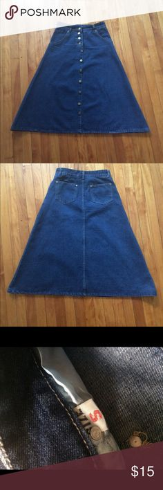 "Long denim skirt Totally new, never wore. It's 30"" long and the waist is 27"". It's good for spring or autumn:) Skirts Maxi"
