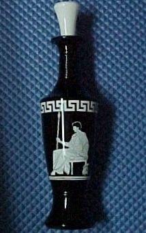 Jim Beam Bourbon Whiskey Decanter Bottle Black Glass, White Roman Greek Soldier