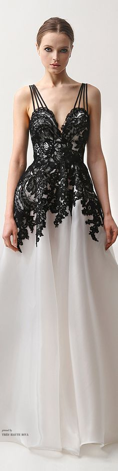 Naeem Khan Pre-Fall 2015. I am loving this gown. It is the gown version of a previous pin on this board. I love the three-spaghetti straps to make one strap.
