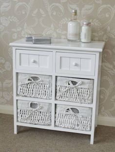 white side cabinet storage wicker unit  drawers table hall bedside furniture: white storage unit wicker