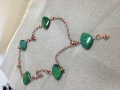 Copper chain & Azurite / Malachite triangle necklace