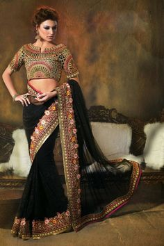Black Net #Saree with Embroidered, Stone and Lace Work - Rs. 7,559 #zohraa