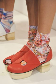 Not by Jenny Lai Spring 2013 Ready-to-Wear Detail. Shoes by Chris Coulthrust X NOT, socks by Strathcona Stockings Crazy Shoes, New Shoes, Fashion Connection, Shoe Cubby, Runway Shoes, Orange Shoes, Crochet Baby Shoes, Shoe Art, Fashion Shoes