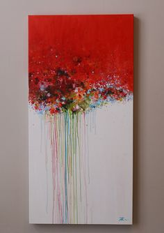 red abstract paintingAcrylic paintingwall decorwall by artbyoak1