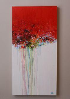 rojo pintura abstracta pintura de acrílico decoración por artbyoak1